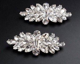 "Bridal Silver Plated Rhinestone Shoe Clips 2"" / Wedding Rhinestone Shoe Clips"