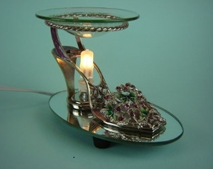 Pewter High Heel Electric Oil Burner With Red Jewel Stones Mother's Day Gift, Gift For Her