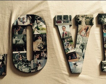Wooden Photo Letter Collage