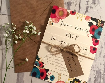 Vintage/Rustic wedding invitation bundle inc Honeymoon wish & RSVP card - Jessica Range