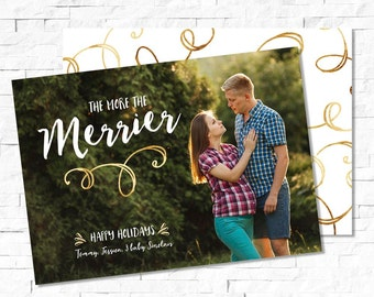 The More The Merrier, birth announcement holiday card, Christmas baby announcement, christmas photo card, Digital Christmas Card, Printable