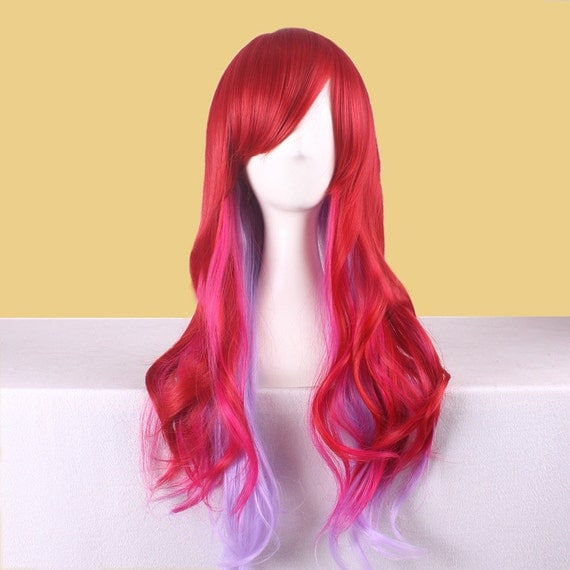 Fashion Mix Ombre Red Color Light Purple Color Curly Wigs Long Wave Women Wigs Sexy Brown Curly Wigs Long Fringe Cosplay Wig