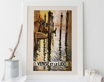 ITALY TRAVEL POSTER - Venice Travel Poster, Lido Travel Poster, Art Deco Poster, Cottage Wall Art