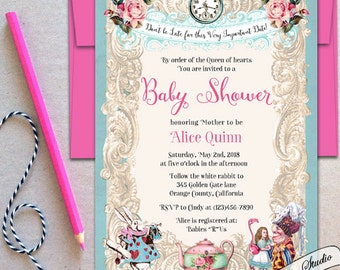 alice in wonderland baby shower invitation baby shower tea party invitation wonderland baby shower