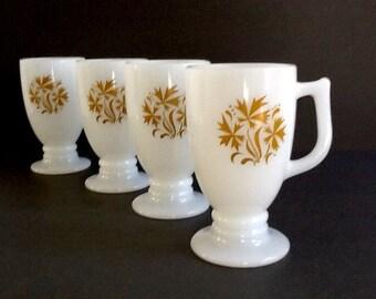 Mid Century White Milk Glass Pedestal Mugs, Set of 4, Gold Leaf Motif, D Shaped Handle, 9 Fluid Ounces, Irish Coffee Mugs