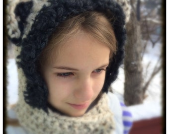 Chunky Bear Cowl Hoodie, Crocheted Hat, Animal, Baby Shower Gift, Christmas Gift
