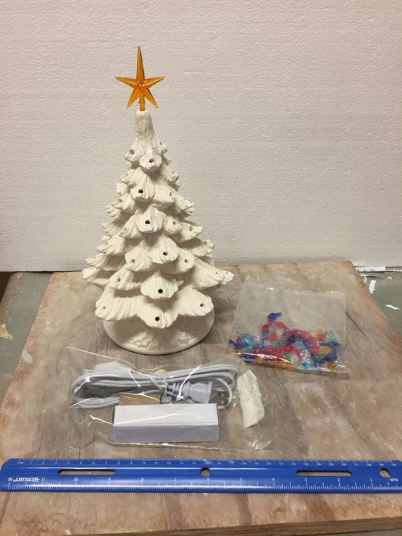 Ceramic Bisque Christmas Tree and Base Complete kit with