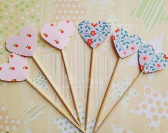 Cupcake toppers with love heart in glitter or pattern! (Pk of 20)