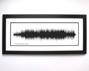 Sound Wave Song, You'll Be in My Heart Art, Voice Print Art, Voice Sound Art, Full Song SoundWave Art Print, Gift for Him, For Her