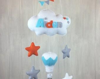 Baby mobile - cloud mobile - hot air balloon mobile - crib mobile - nursery mobile - namelove collection - felt baby name mobile