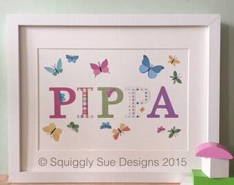 Personalised Name Frame -Butterflies