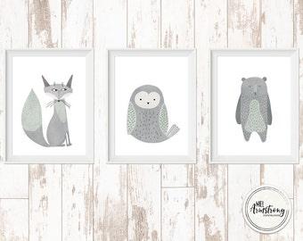 bear, owl and fox, set of 3 nursery art prints,  Giclee Art Print, woodland, archival art prints