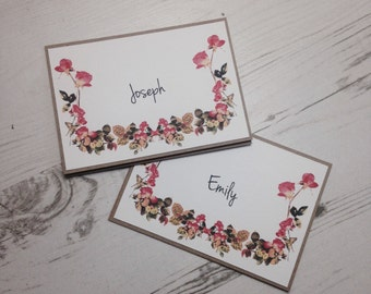 Wedding Place Card Name Rustic Vintage Floral Pink