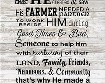 God made a Farmer Wife - Wood Sign, Canvas Wall Hanging, Photo Clip Frame -  Valentine's Day, Wedding, Christmas Gift
