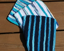 Cotton Baby Washcloth / Cotton Dishcloth (hand knit dish cloth)  Set of 3