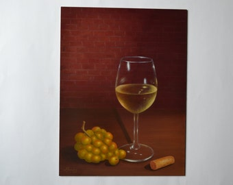 Original 9x12' acrylic small still life painting, white wine glass painting, wine cork, grapes painting, kitchen art, food painting, chef