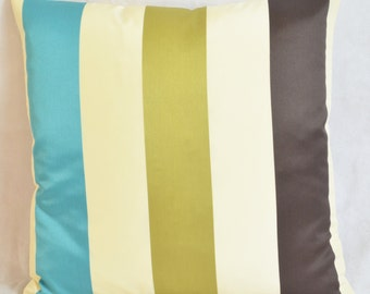 "Ashley Wilde Karok Stripe Aqua Cushion Cover 100% Polyester 17""x17"" 43cm sq"