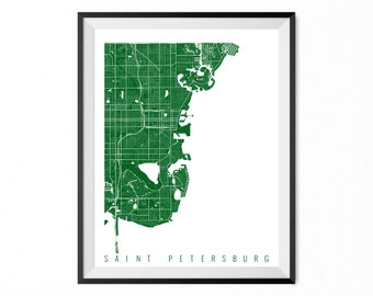 Saint Petersburg City Map Art Print / Saint Petersburg Poster / Saint Petersburg Wall Art / Florida Gift/ Florida home decor
