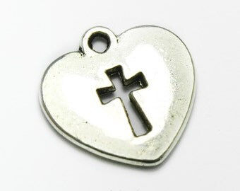Tiny Silver Heart Charm with a Cross, Made In Italy #M43