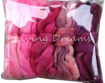 DISCOUNT PACK Hand Dyed Gradient BFL Wool Top Roving. Pre-Drafted Soft Lustrous Fiber for Spinning, Felting, Weaving. 5 Mini Skeins, Pinks