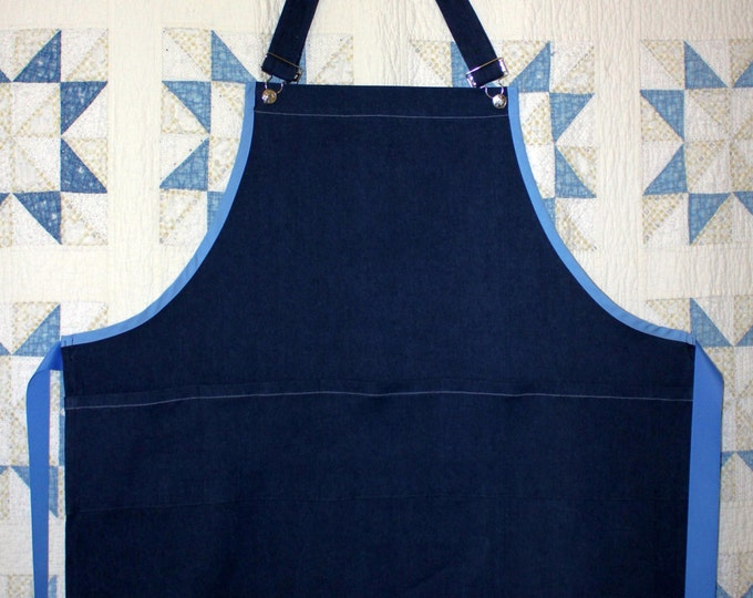 Guy's Barbeque Apron. Dark Blue Denim Apron Trimmed in Light Blue. . Adjustable neck/waist tie.Handyman, Grill King, Kitchen Queen gift