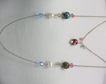 Silver plated Wire & Beeds Necklace by Handmade