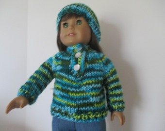 blue and green varigated sweater and hat