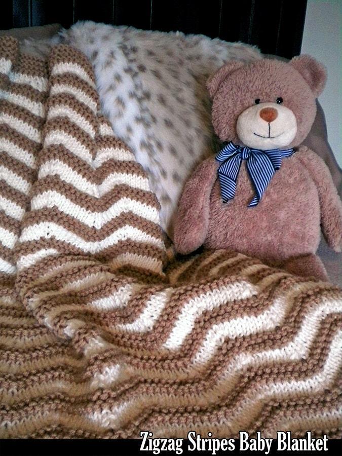 Zigzag Knitting Pattern Baby Blanket : Zigzag Stripes Baby Blanket Knitting Pattern by ...