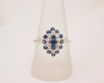 2.00 Carat T.G.W. Ladies Blue Sapphire & Diamond Ring 14K