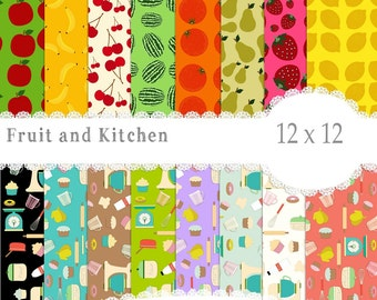 Kitchen Papers, Baking papers, Food papers, Fruit Paper, Digital Paper, Scrapbook Paper Instant Download