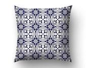 Blue Tile Pillow, Spanish Decor, Modernist Pillows, Throw Pillows, Home Gift, Custom Color