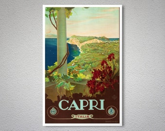 Capri Italia Vintage Travel Poster - Poster Print, Sticker or Canvas Giclee Print