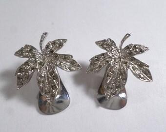 Vintage Silver Tone Maple Leaf Rhinestone Clip On Earrings  DL#6530