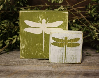 Dragonfly Blocks, Dragonfly Decor, Spring Summer Decor, Dragonfly Art, Dragonfly Home Decor, Weathered Dragonfly Blocks