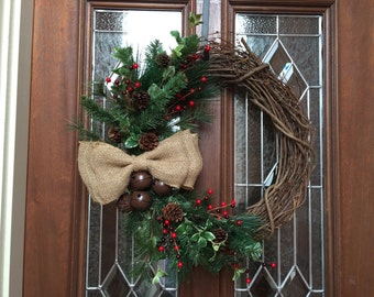 Rustic Christmas Wreath, Simple Holiday Wreath, Burlap Bow, Red Berries, Pine Cones, Bells, Grapevine Wreath