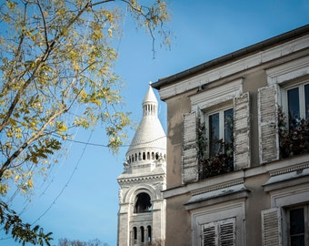 Basilica of the Sacred Heart, Sacre Coeur, Paris Montmartre Print fine art photography, church glimpse, home art decor, shabby chic