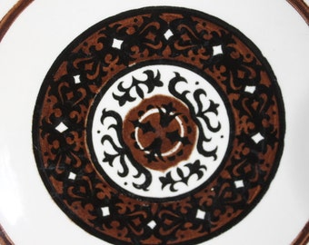 """Set of 4 Royal China Royal-Ironstone 7"""" Salad Plates, Overture Pattern in Black and Brown"""