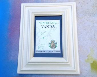 Framed Vintage Wine Label, Antique Label, Bar Decor, Kitchen Decor, Vintage Label, Vin Blanc Vanda, Des Caves Vanda