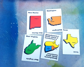 Vintage Game Cards, 80s Game Cards, Flash Cards, State Cards, State to State, Game Cards, New Mexico, Washington, West Virginia, Texas