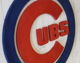 Extra Large Reclimed Wood Custom Chicago Cubs Hand Scrolled Wood Logo Wall Art