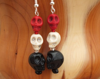 Skull earrings, red earrings, white earrings, black earrings
