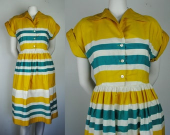 Vintage 40's Striped Cotton Day Dress - 1940s Summer Day Dress