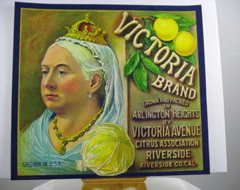 Crate Label Victoria Brand Sunkist Grapefruit Riverside California