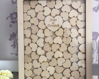 DROP BOX style wedding guest book alternative with hearts