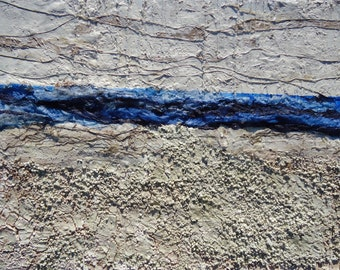 """Large Abrstract Landscape Textured Mixed Media Painting-Title""""..and away,the sea..Size 31,5""""x23,6"""""""