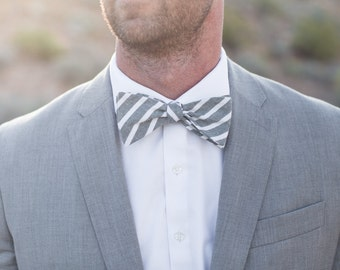 Bow Tie, Green Large Striped Men's Bow Tie
