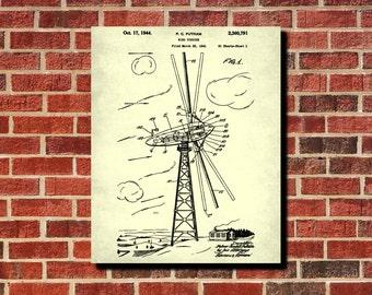 Wind Turbine Patent Print Green Energy Poster Wind Turbine Blueprint Renewable Energy Poster