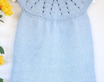Baby girl knit dress, light blue cotton dress, baby knitwear