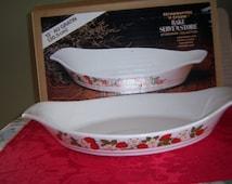 Vintage Bake Serve and Store Stoneware Collection Strawberries N Cream Pattern 12in. Au Gratin Baking Dish