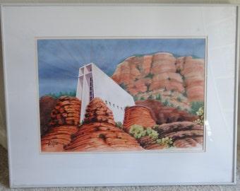 Vintage Watercolor Red Rocks/Signed Dennis Morefield